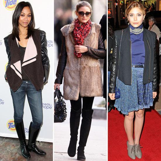 Celebrities Wearing Leather Sleeve Coats 2012