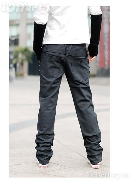 Mens uk style fine grid stylish straight casual pants