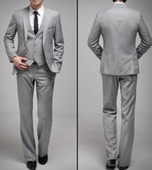 usa on sale groom suits Men s Business Suit Suits Gray 1 buttons