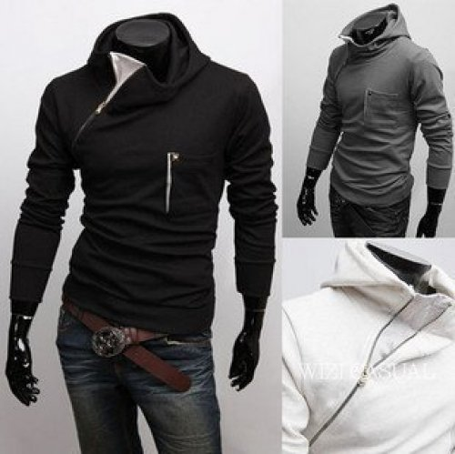 Korea Style Fashion slanting zipper Hoodies Men Coat Sweater Sweatshirts