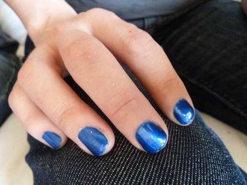 Blue spring color nail polish
