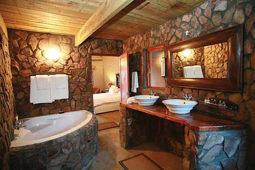 Best Stone Wall Bathroom Design with Wooden Combination Material