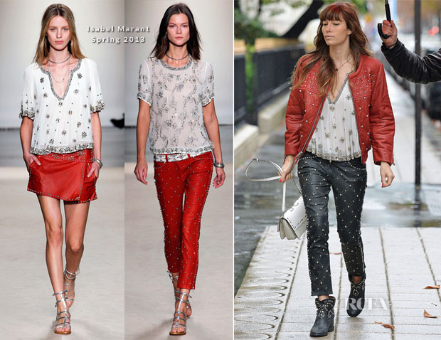 Jessica Biel In Isabel Marant Out In Paris