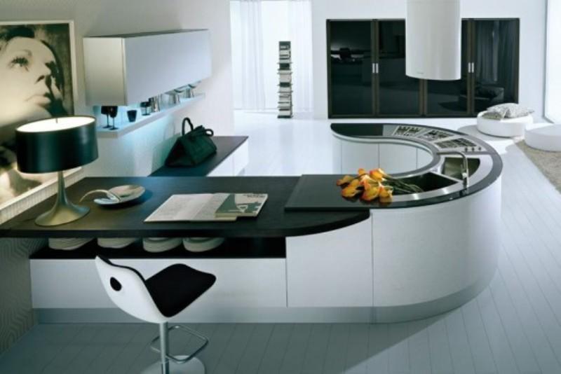 Sophisticated Masculine Futurstic Round Top Kitchen design