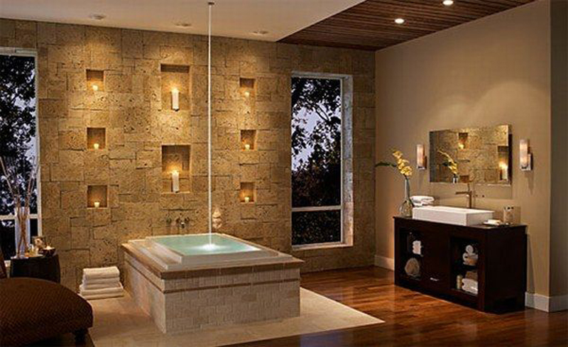 Unique lighting for elegance room with stone wall
