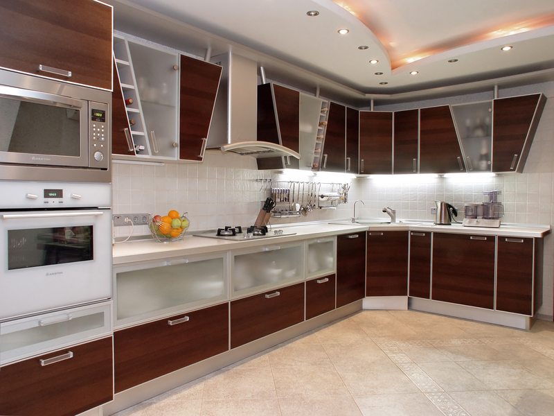 Wooden Material Kitchen with White Color Combination
