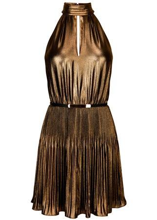 Oasis pleated halter neck dress