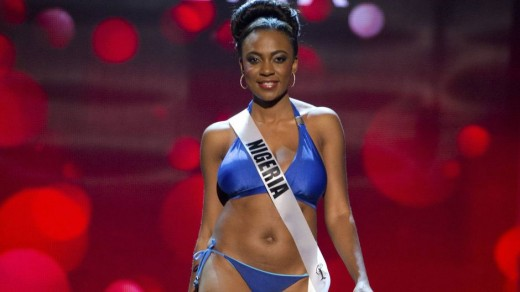 Miss Nigeria 2012 Ayuk competes during the Swimsuit Competition of the 2012 Miss Universe Presentation Show at PH Live in Las Vegas