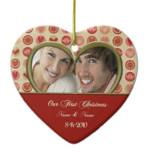 christmas wedding couple ornament custom personalized
