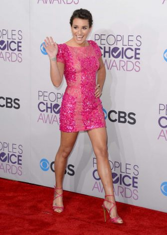 Lea Michele wearing tight
