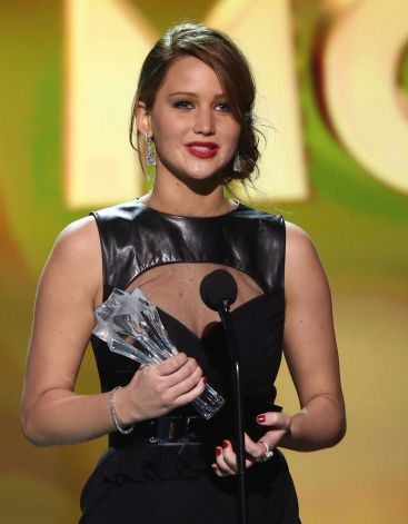 Jennifer Lawrence accepts the award for best actress