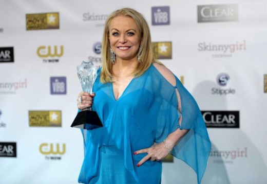Jacki Weaver poses backstage with the award for best comedy movie