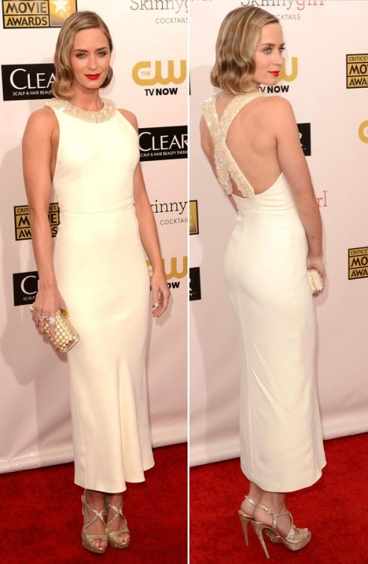 emily blunt miu miu white dress critics choice awards 2013