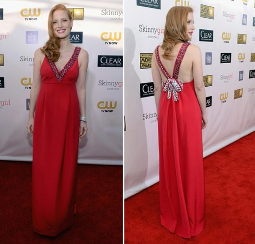 jessica chastain prada red dress critics choice awards 2013