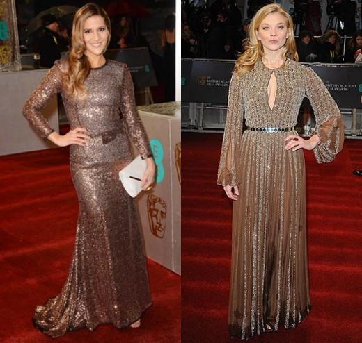 Amanda Byram and Natalie Dormer choose metallic brown