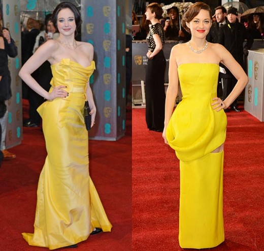 Andrea Riseborough and Marion Cotillard faced mixed results for choosing yellow