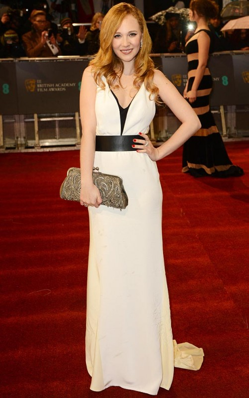 British actress Juno Temple wears a simple white gown