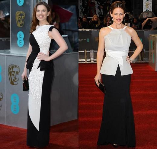 Hayley Atwell and Jennifer Garner work black-and-white looks