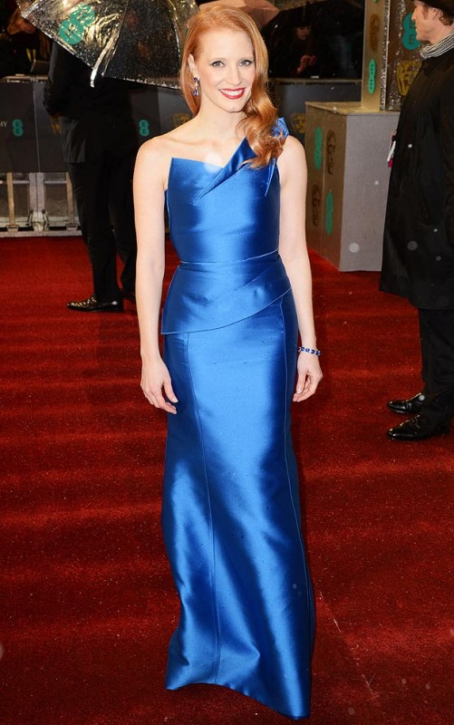 Jessica Chastain makes a bold statement in blue