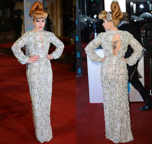 Paloma Faith dresses up to the nines in a silver beaded dress