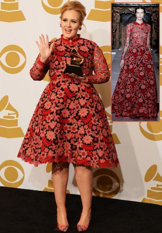 Grammy awards valentine flowery dress