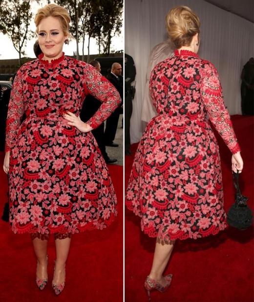 grammy valentino flowery red dress