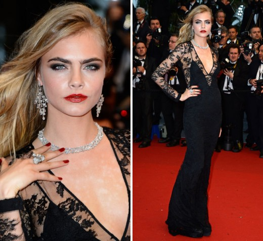 Cara Delevingne Black Lace Burberry Dress 2013