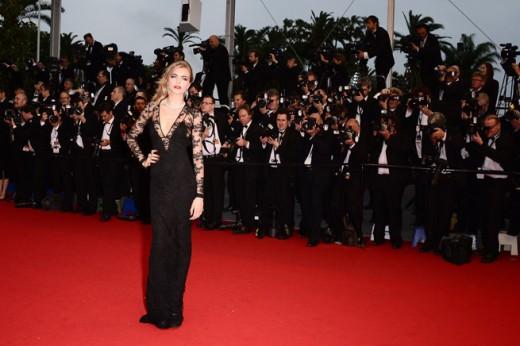 Cara Delevingne Black Lace Burberry Dress 2013 on red carpet