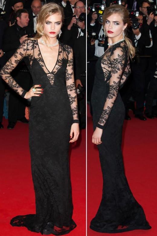 Cara Delevingne Black Lace Burberry Dress 2013 on Met gala