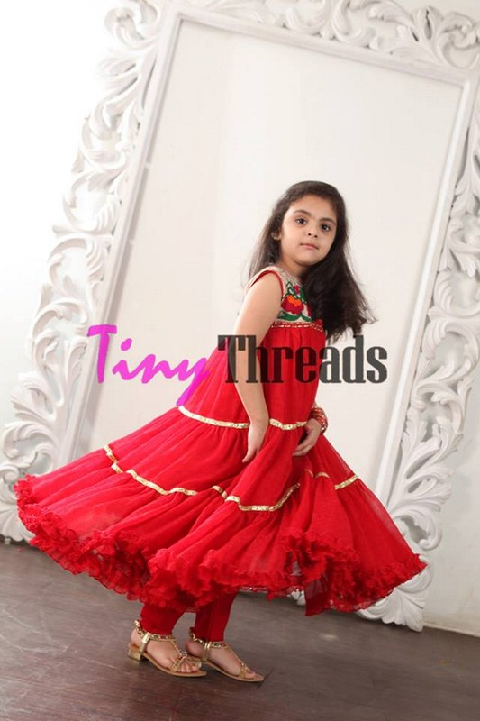 Eid Collection by Tiny Threads for the Kids Red Dress Photo