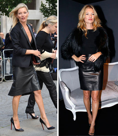 Kate Moss Black Leather Skirt Image