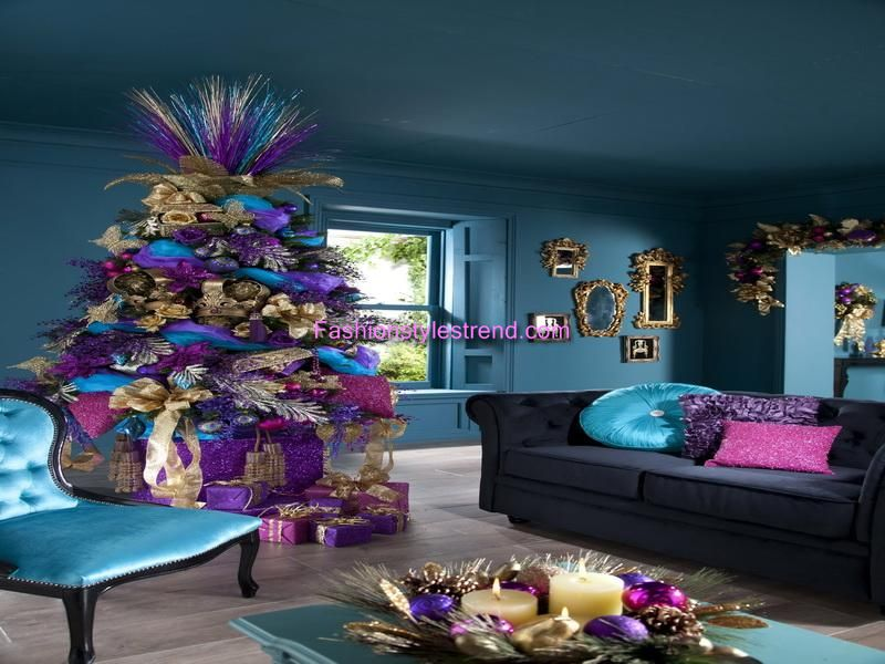 purple and silver christmas tree decorations gift - Christmas Tree With Purple Blue And Silver Decorations