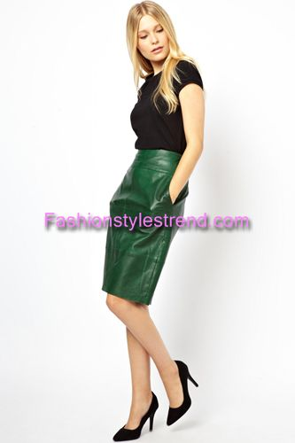 Green Leather Skirts