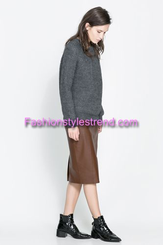 Brown Color Leather Skirts