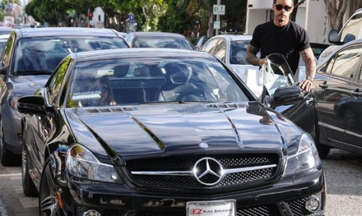 Carmen Electra & Rob Patterson in Mercedes SL Luxury car Photos