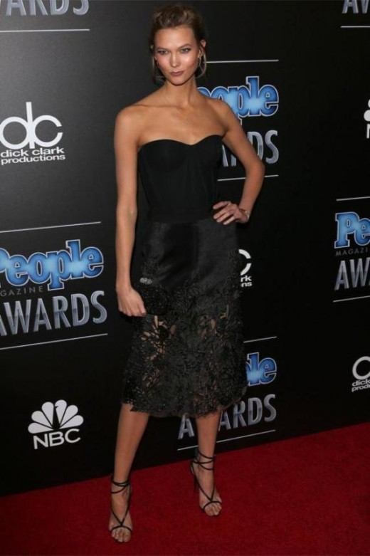 Karlie Kloss' in Hot Black boots and Dress