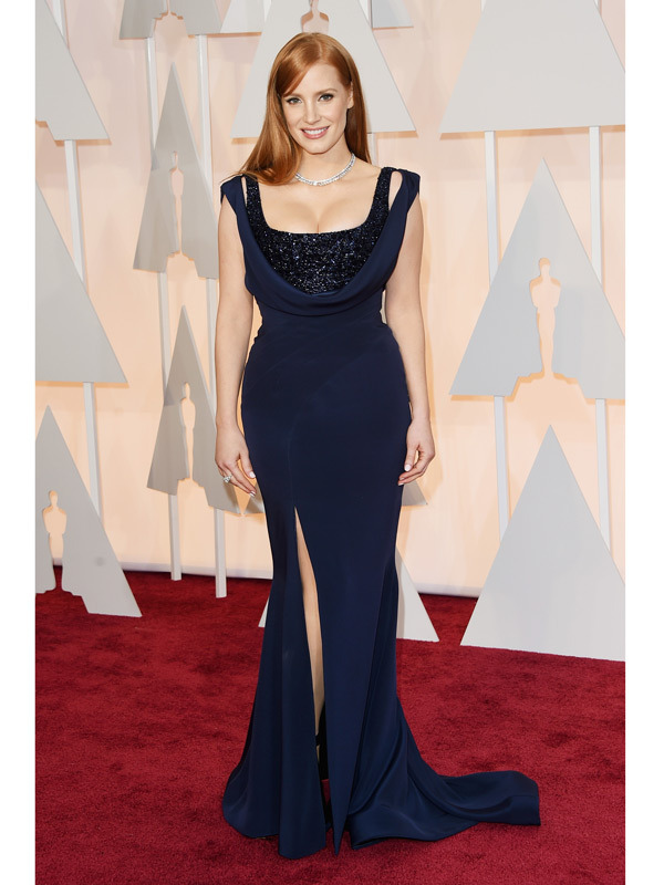 jessica chastain oscars 2015 academy awards red carpet pictures