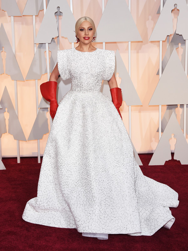 lady gaga oscars 2015 academy awards red carpet pictures