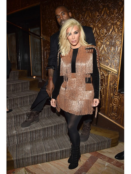 Kim Kardashian Gold Fringed Froc Fashion