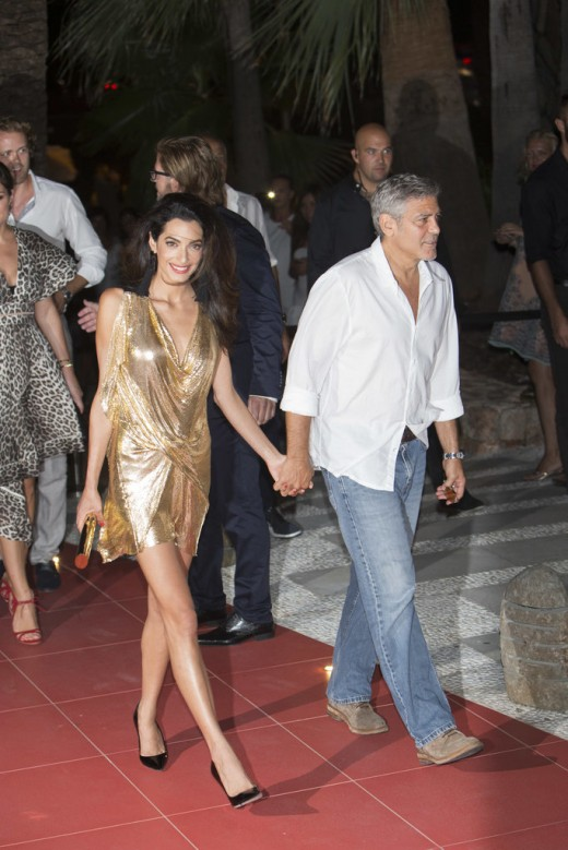 While-George-wore-casual-button-down-jeans-Amal-fancy