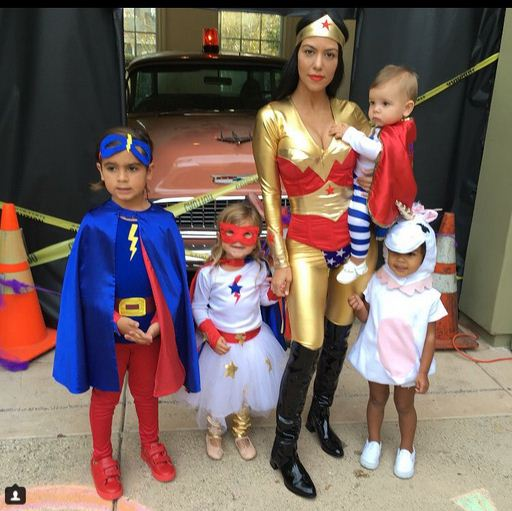 Kourtney Kardashian with Kids in Halloween Costume