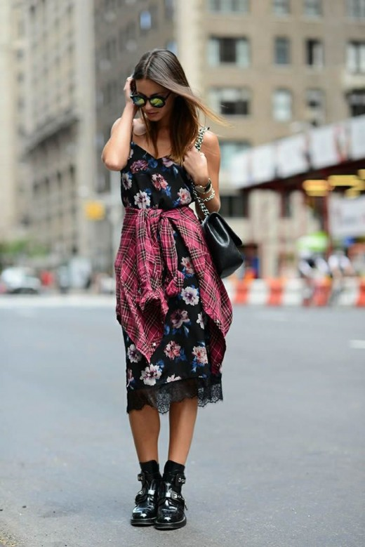 Floral Dress and Plaid Shirt