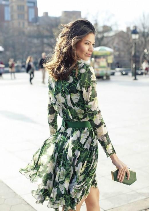 Green Valentino Floral Dress
