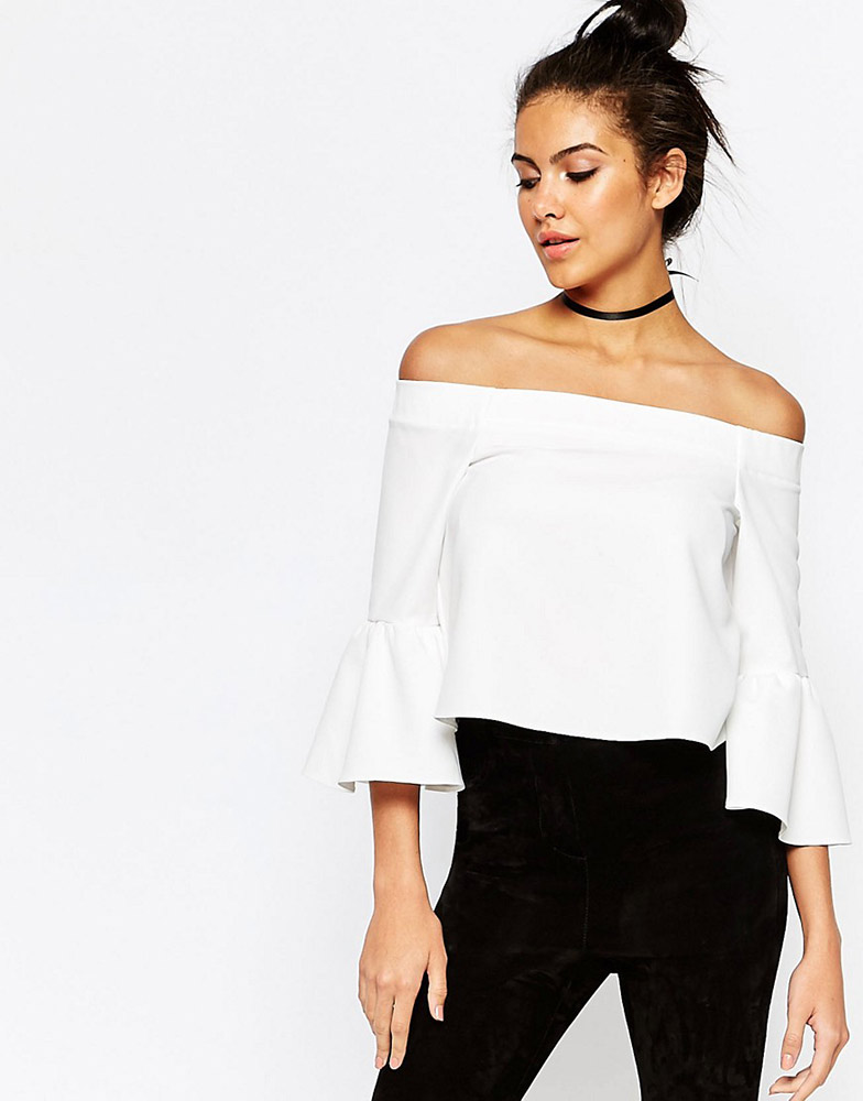 asos off the shoulder top with ruffle sleeves   fashion